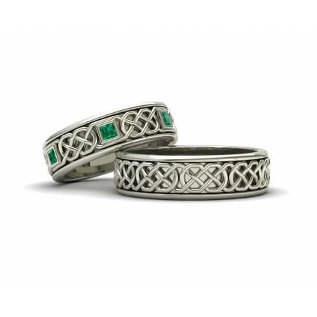 Emerald white gold celtic rings