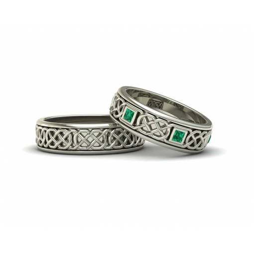 Emerald 18k white gold celtic wedding rings