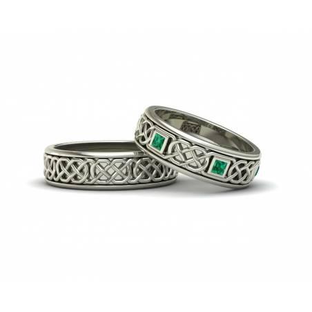 Anillos de boda celtas con esmeraldas en oro blanco ancho 6mm