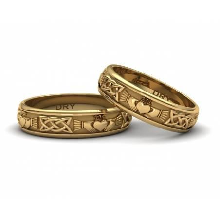 Alianzas Claddagh en oro de 18 quilates y una anchura de 5mm