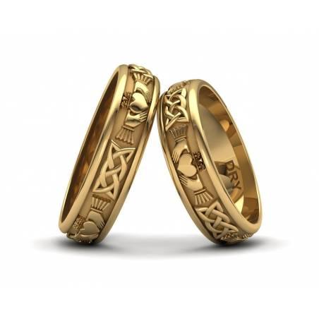 Alianzas Claddagh  en oro amarillo con un ancho de 5mm