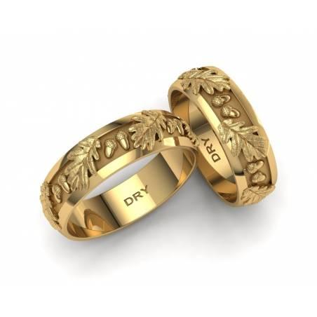 Alianzas de boda con hojas de roble en oro amarillo de 18 quilates