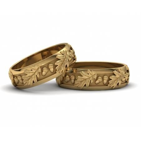 Originales anillos de boda con hojas de roble en oro amarillo de 18 quilates con un ancho de 6 milímetros
