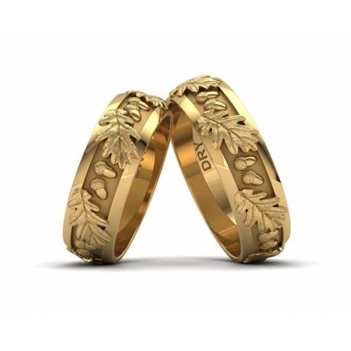 Originales alianzas con hojas de roble en oro amarillo de 18 quilates con un ancho de 6 milímetros
