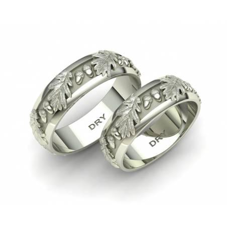 Originales anillos de boda con hojas de roble en oro blanco de 18 quilates con un ancho de 6 milímetros