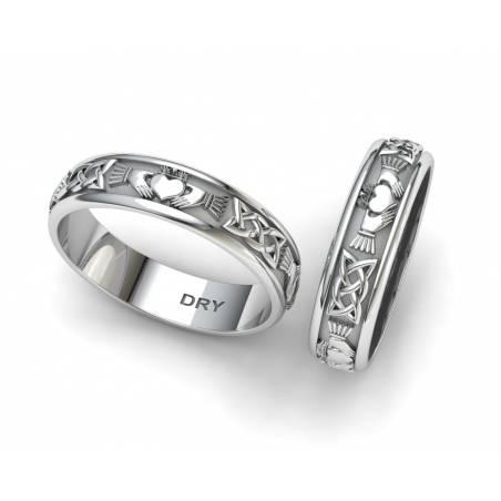 Alianzas de boda Claddagh de plata con un ancho de 5 milímetros