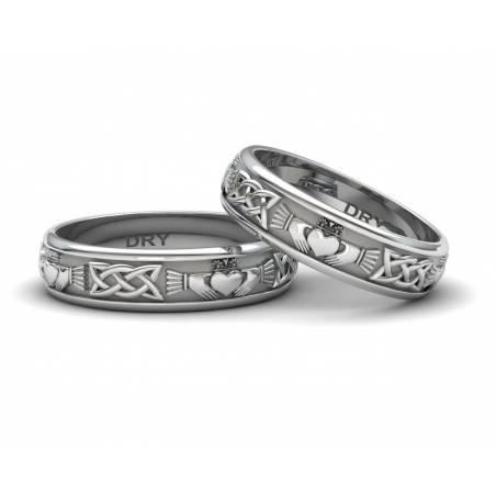 Anillos de boda Claddagh de plata con un ancho de 5 milímetros