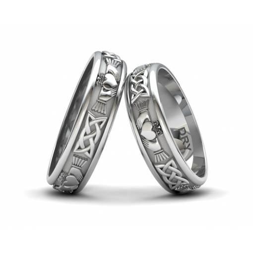 Anillos celtas Claddagh de plata con un ancho de 5 milímetros