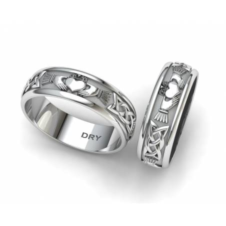 Awesome silver Claddagh wedding rings width 6 millimeters
