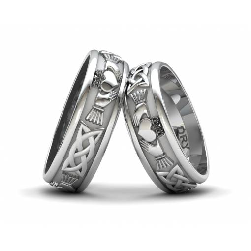 Beautiful Silver Claddagh wedding bands width 6 millimeters