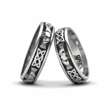 Anillos de boda Claddagh de plata negra con un ancho de 5 milímetros