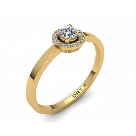 Anillo de compromiso rosetón diamantes blancos en oro amarillo de 18k