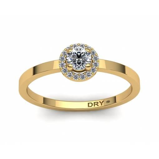 Elegante anillo con forma de rosetón y diamantes blancos en oro amarillo de 18k
