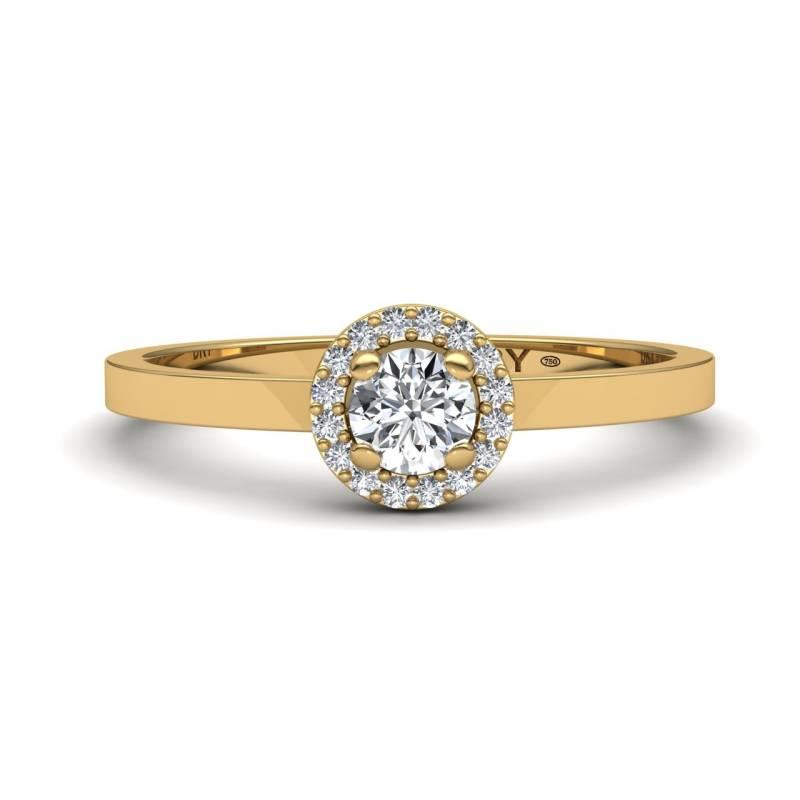 Anillo rosetón diamantes blancos en oro amarillo de 18k