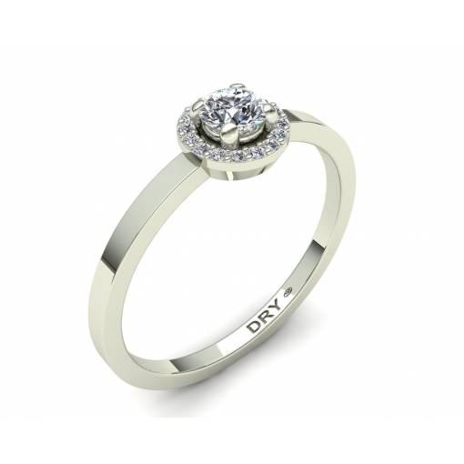 Delicado anillo rosetón diamantes blancos en oro blanco de 18k
