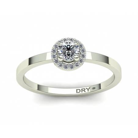 Anillo de compromiso rosetón diamantes blancos en oro blanco de 18k