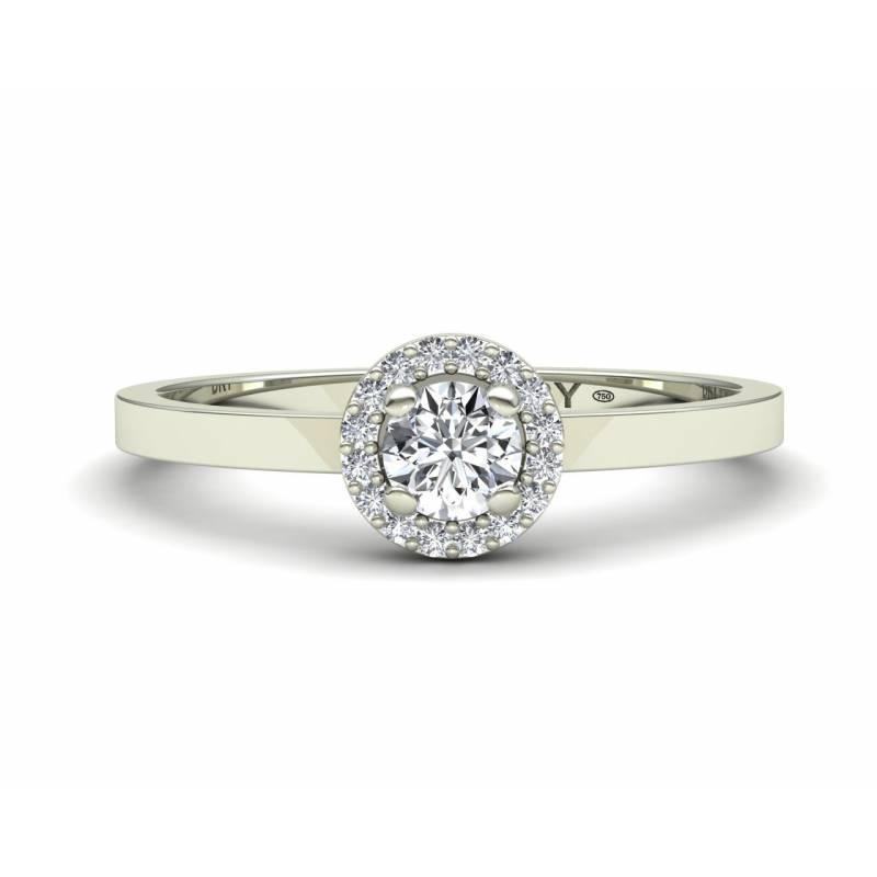 Anillo rosetón diamantes blancos en oro blanco de 18k