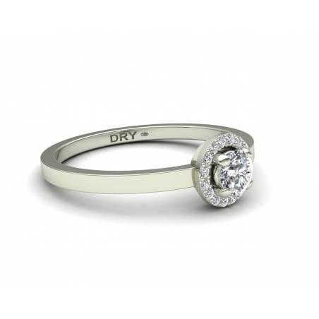 Sortija rosetón diamantes blancos en oro blanco de 18k
