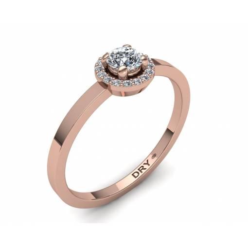 Anillo de compromiso con diseño de rosetón con diamantes blancos en oro rosa de 18k
