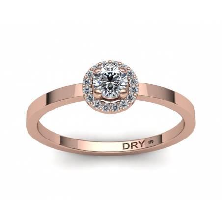 Sortija con diseño de rosetón con diamantes blancos en oro rosa de 18k