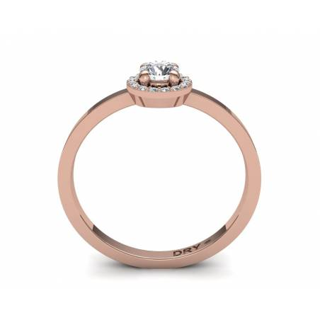 Anillo con diseño de rosetón con diamantes blancos en oro rosa de 18k