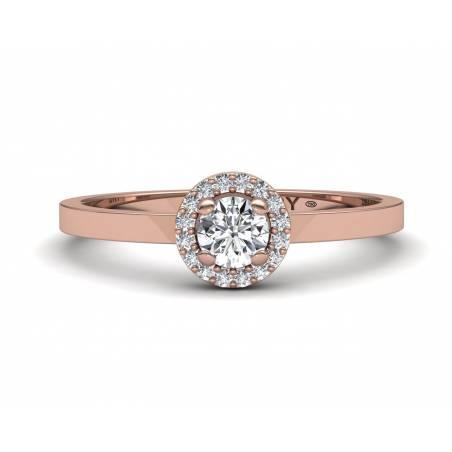 Anillo rosetón diamantes blancos en oro rosa de 18k