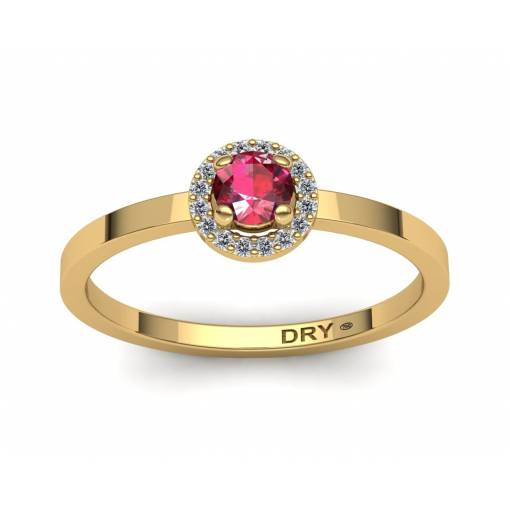 Anillo rosetón con rubí y diamantes en oro amarillo de 18k