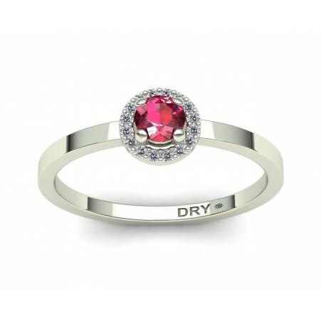 Anillo rosetón con rubí y diamantes en oro blanco de 18k