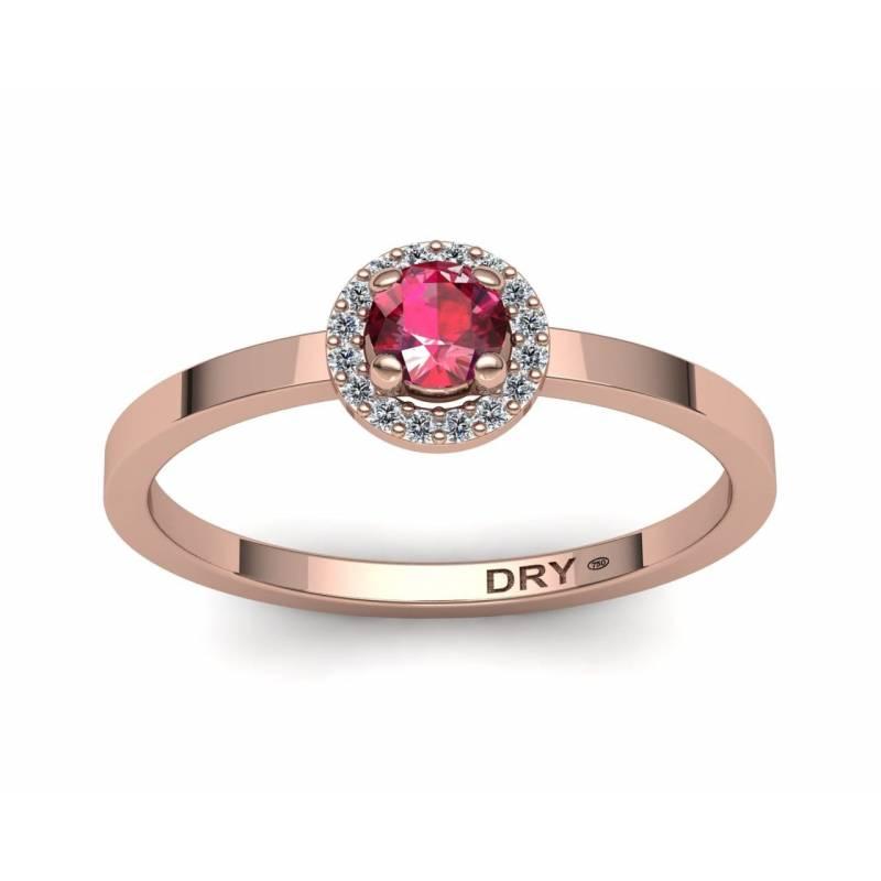 Anillo rosetón con rubí y diamantes en oro rosa de 18k