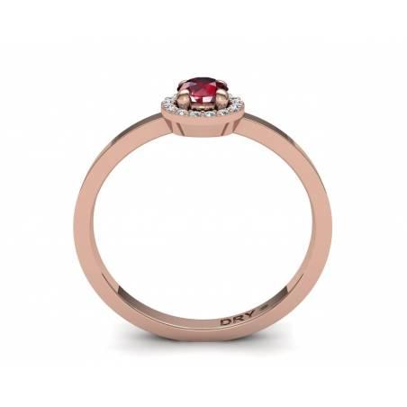 18k Gold Ruby and Diamonds Rosette Ring