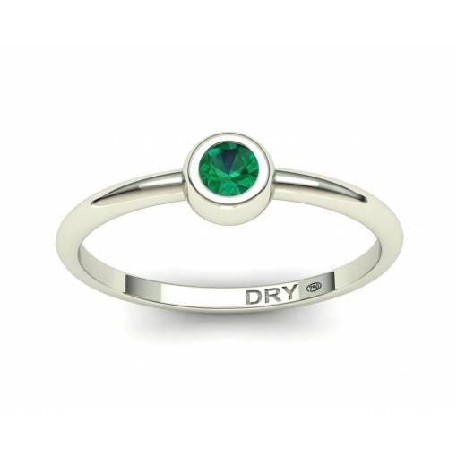 Delicate emerald white gold ring