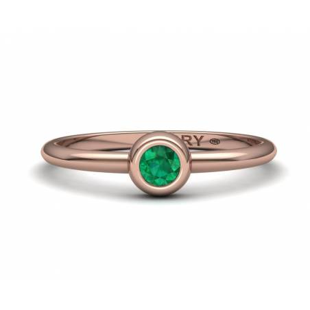 Delicate emerald rose gold ring