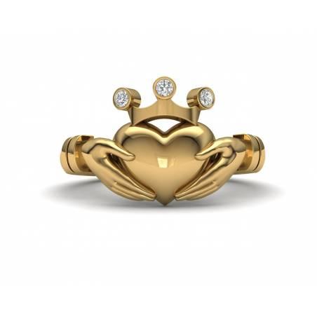 Anillo Claddagh con diamantes en oro amarillo de 18k
