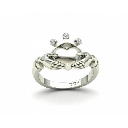 Anillo Claddagh con diamantes en oro blanco de 18k