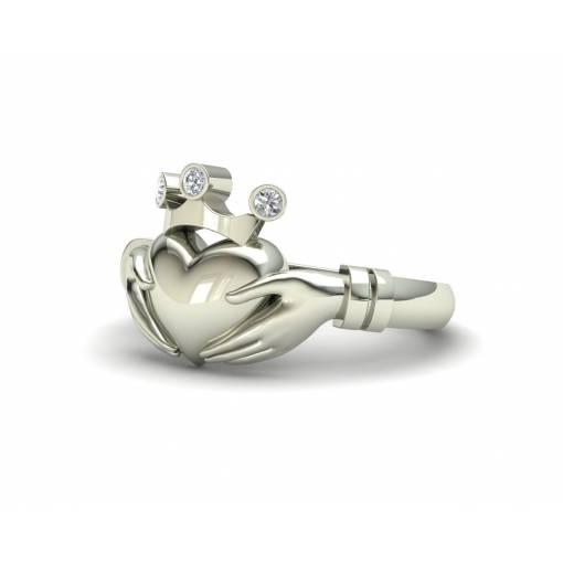 Anillo de compromiso Claddagh con diamantes en oro blanco de 18k