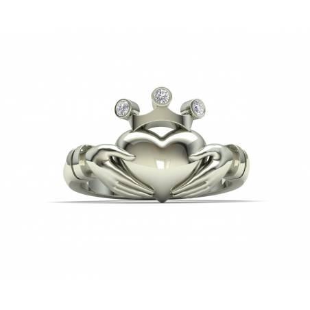 Anillo de compromiso Claddagh con brillantes en oro blanco de 18k