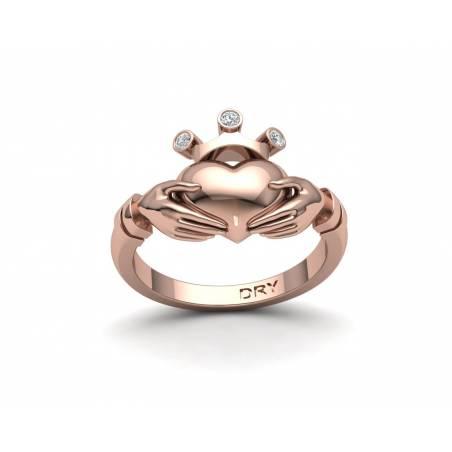 Anillo de compromiso Claddagh con diamantes en oro rosa de 18k