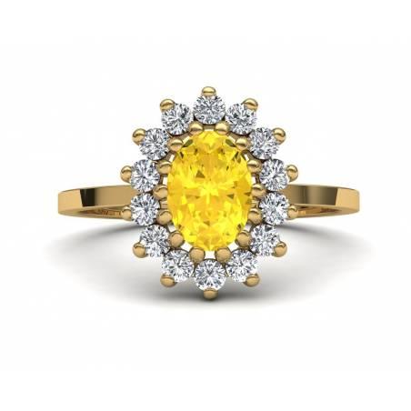 Anillo clásico rosetón con citrino y brillante en oro amarillo de 18k