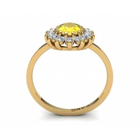 Anillo clásico rosetón con citrino y diamantes en oro amarillo de 18k