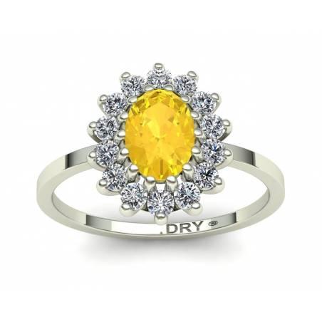 Anillo rosetón con citrino y diamantes en oro blanco de 18k