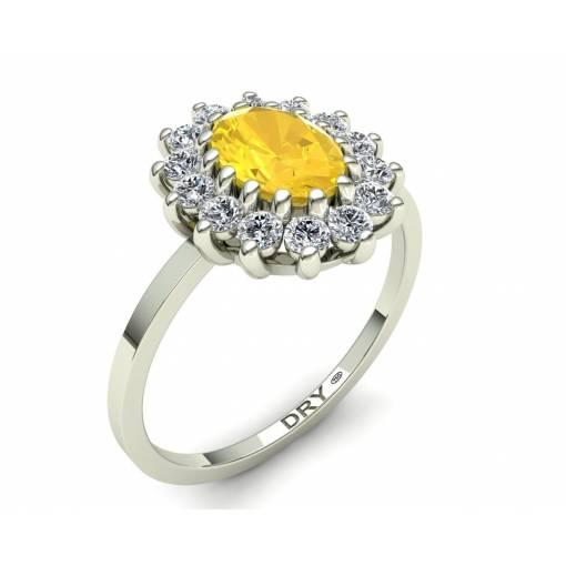 Anillo clasico rosetón con citrino y diamantes en oro blanco de 18k