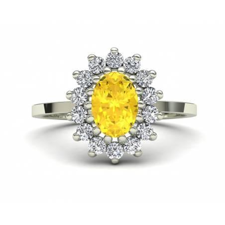 Anillo diseño clásico rosetón con citrino y diamantes en oro blanco de 18k