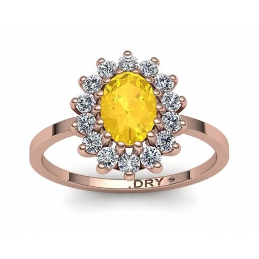 Anillo rosetón con citrino y diamantes en oro rosa de 18k