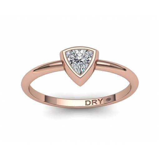 18k Rose Gold Trillion Cut Diamond Ring