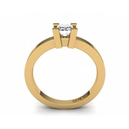 18k Yellow gold 0.40cts princess-cut diamond ring