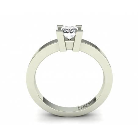 Anillo de compromiso con diamante princesa de 0.40 quilates en oro blanco de 18k