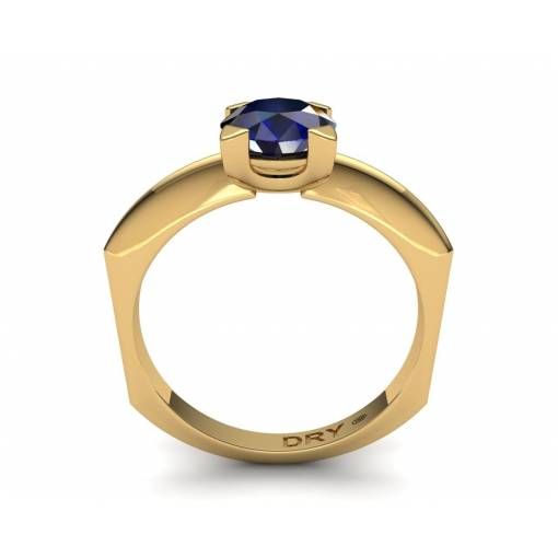 18k Yellow  gold sapphire solitaire ring
