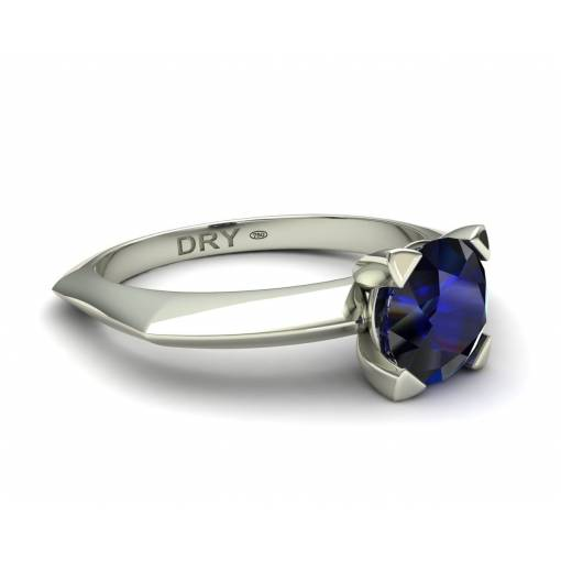 18k White gold sapphire solitaire ring