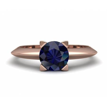 18k Rose gold sapphire solitaire ring