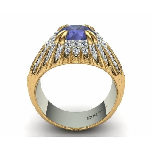 Anillo con tanzanita y diamantes en oro bicolor